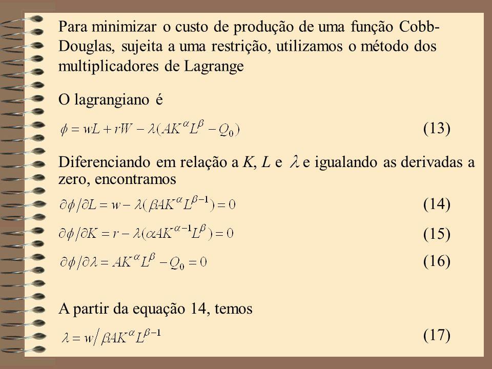 Para minimizar o custo de produção de uma função Cobb- Douglas, sujeita a uma restrição, utilizamos o método dos multiplicadores de Lagrange O lagrang