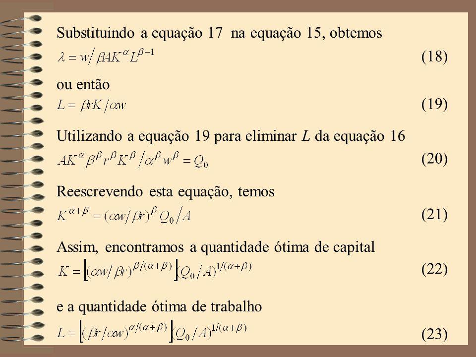Substituindo a equação 17 na equação 15, obtemos (18) (19) ou então (20) Utilizando a equação 19 para eliminar L da equação 16 (21) Reescrevendo esta