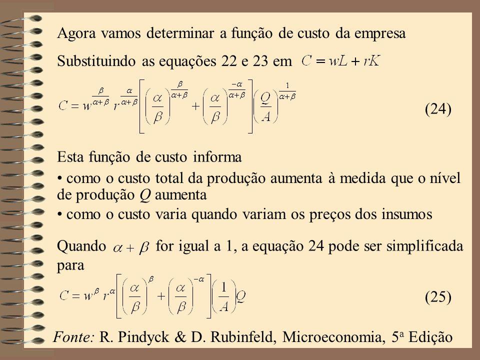 (24) Agora vamos determinar a função de custo da empresa Substituindo as equações 22 e 23 em Esta função de custo informa como o custo total da produç