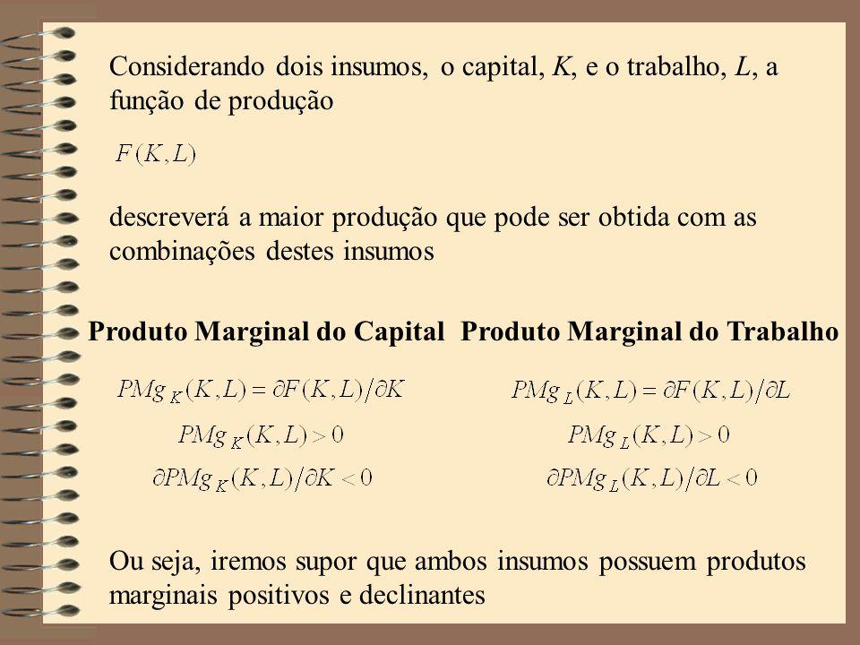 Considerando dois insumos, o capital, K, e o trabalho, L, a função de produção descreverá a maior produção que pode ser obtida com as combinações dest