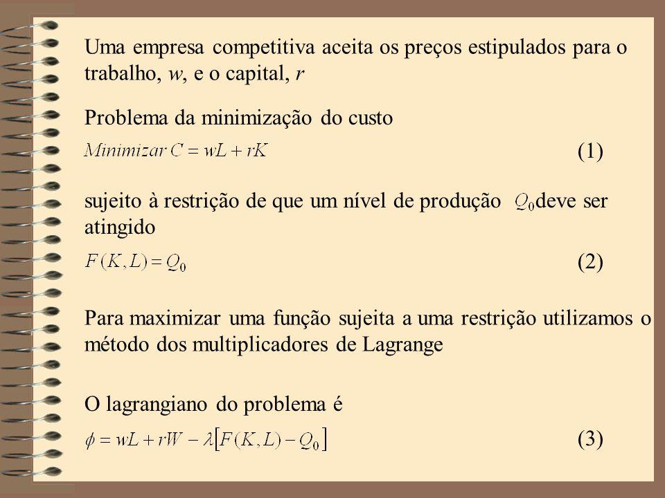 Uma empresa competitiva aceita os preços estipulados para o trabalho, w, e o capital, r Problema da minimização do custo sujeito à restrição de que um