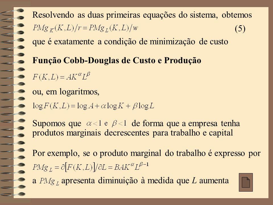 Resolvendo as duas primeiras equações do sistema, obtemos (5) que é exatamente a condição de minimização de custo Função Cobb-Douglas de Custo e Produ