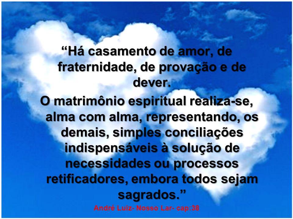 Há casamento de amor, de fraternidade, de provação e de dever. O matrimônio espiritual realiza-se, alma com alma, representando, os demais, simples co