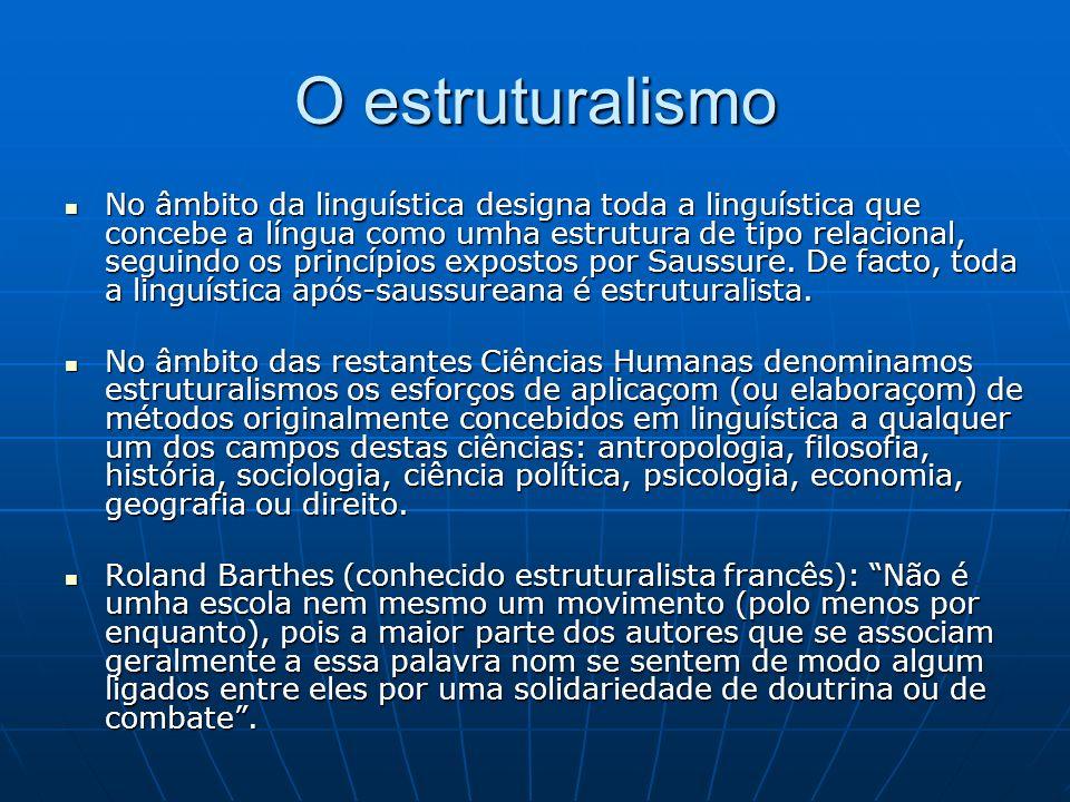 O estruturalismo No âmbito da linguística designa toda a linguística que concebe a língua como umha estrutura de tipo relacional, seguindo os princípios expostos por Saussure.