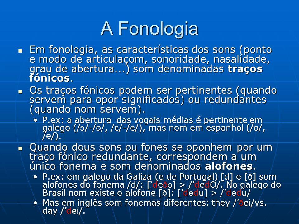A Fonologia Em fonologia, as características dos sons (ponto e modo de articulaçom, sonoridade, nasalidade, grau de abertura...) som denominadas traços fónicos.