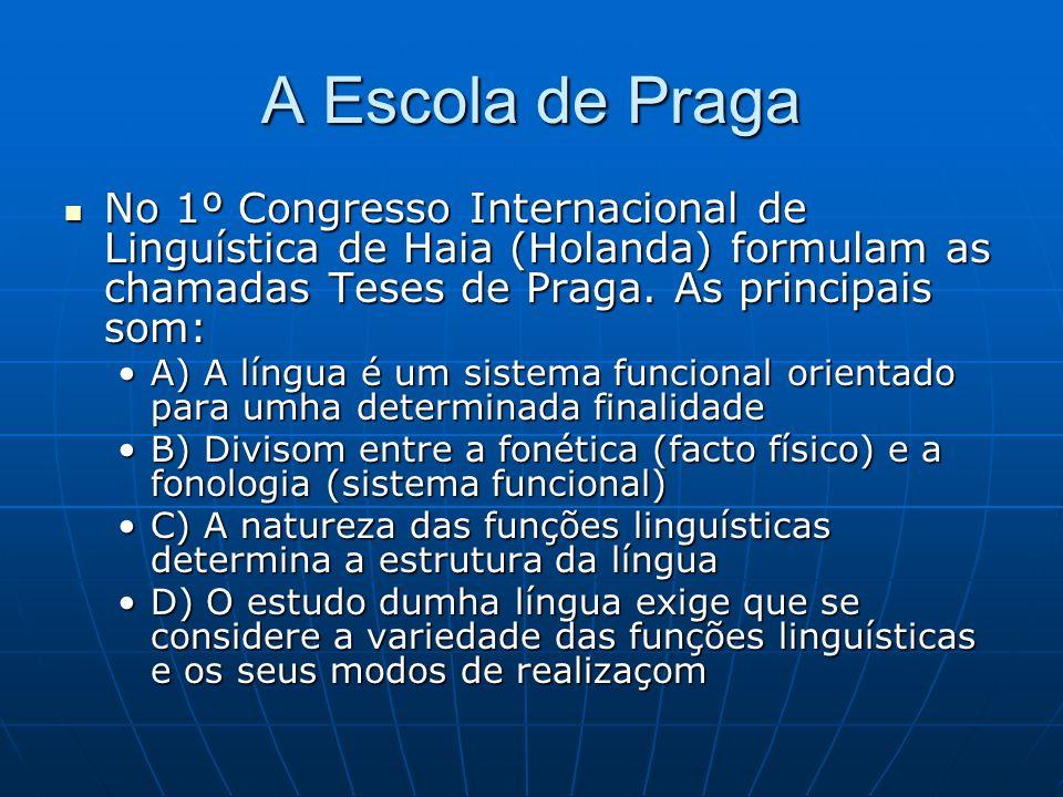 A Escola de Praga No 1º Congresso Internacional de Linguística de Haia (Holanda) formulam as chamadas Teses de Praga.