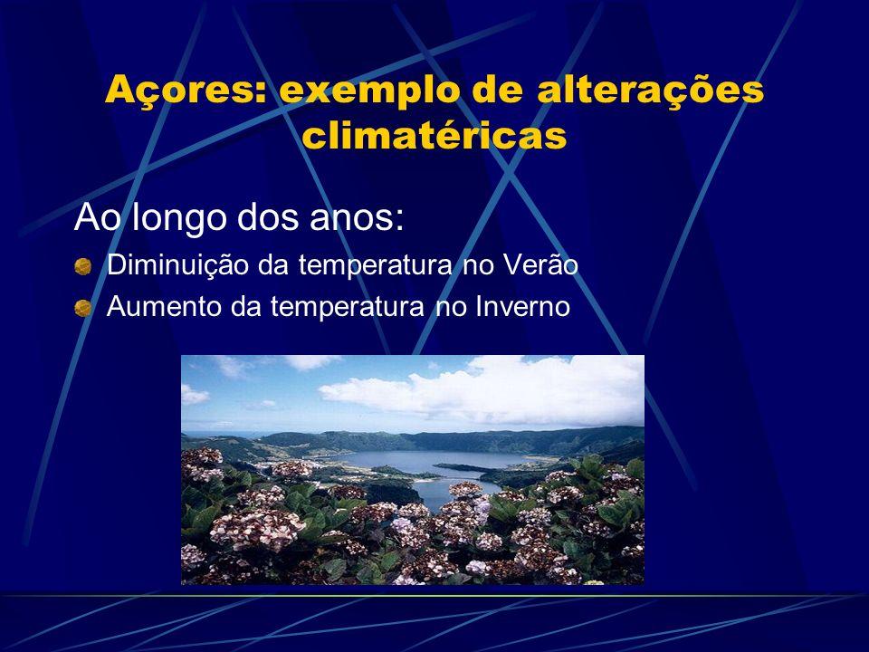 Açores: exemplo de alterações climatéricas Ao longo dos anos: Diminuição da temperatura no Verão Aumento da temperatura no Inverno
