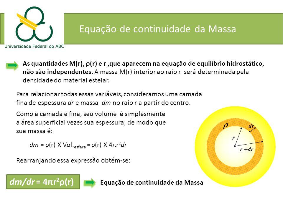Equação de continuidade da Massa As quantidades M(r), (r) e r,que aparecem na equação de equilíbrio hidrostático, não são independentes. A massa M(r)
