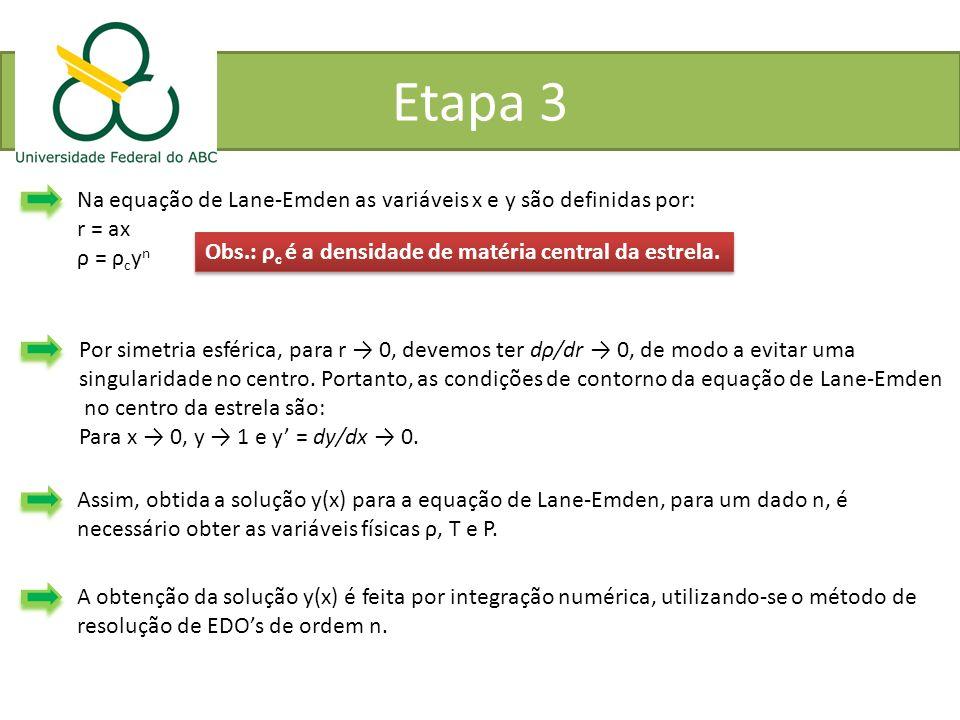 Etapa 3 Na equação de Lane-Emden as variáveis x e y são definidas por: r = ax ρ = ρ c y n Obs.: ρ c é a densidade de matéria central da estrela. Por s