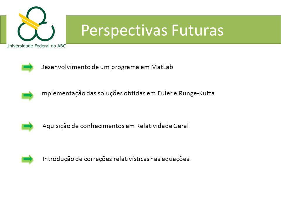 Perspectivas Futuras Desenvolvimento de um programa em MatLab Implementação das soluções obtidas em Euler e Runge-Kutta Aquisição de conhecimentos em