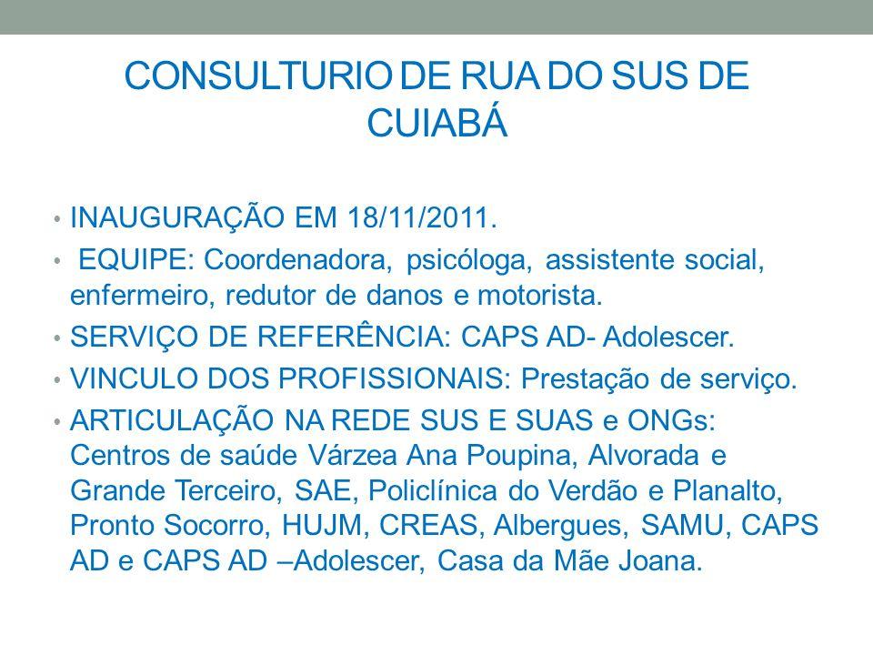 CONSULTURIO DE RUA DO SUS DE CUIABÁ INAUGURAÇÃO EM 18/11/2011. EQUIPE: Coordenadora, psicóloga, assistente social, enfermeiro, redutor de danos e moto