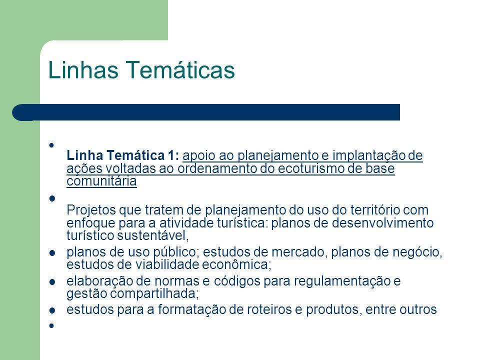 Linhas Temáticas Linha Temática 1: apoio ao planejamento e implantação de ações voltadas ao ordenamento do ecoturismo de base comunitária Projetos que