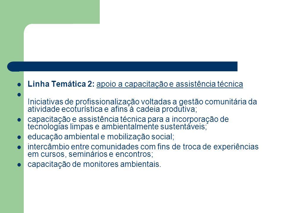 Linha Temática 2: apoio a capacitação e assistência técnica Iniciativas de profissionalização voltadas a gestão comunitária da atividade ecoturística