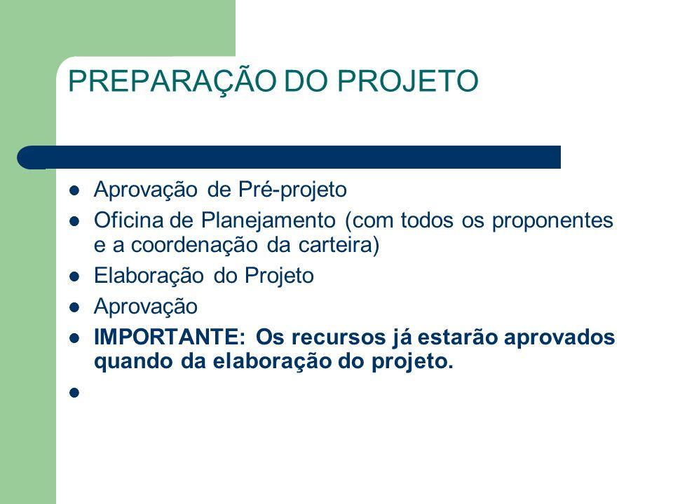 PREPARAÇÃO DO PROJETO Aprovação de Pré-projeto Oficina de Planejamento (com todos os proponentes e a coordenação da carteira) Elaboração do Projeto Ap