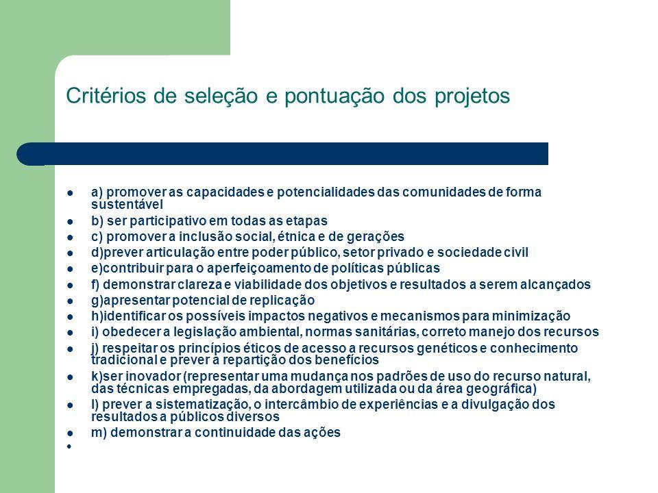 Critérios de seleção e pontuação dos projetos a) promover as capacidades e potencialidades das comunidades de forma sustentável b) ser participativo e