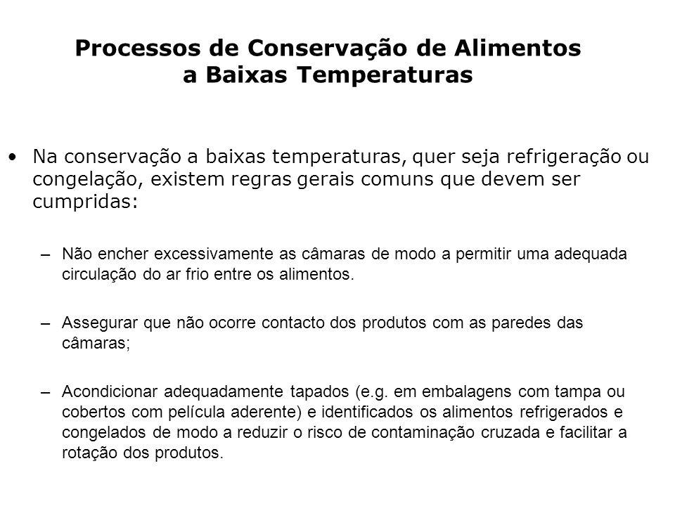 Na conservação a baixas temperaturas, quer seja refrigeração ou congelação, existem regras gerais comuns que devem ser cumpridas: –Não encher excessiv