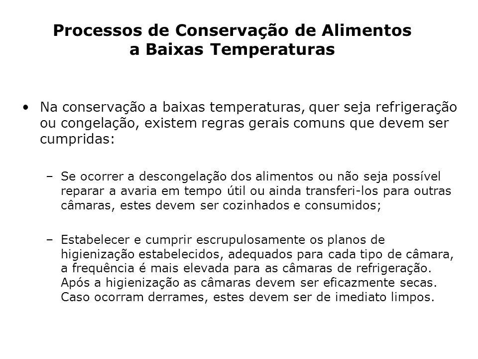 Na conservação a baixas temperaturas, quer seja refrigeração ou congelação, existem regras gerais comuns que devem ser cumpridas: –Se ocorrer a descon