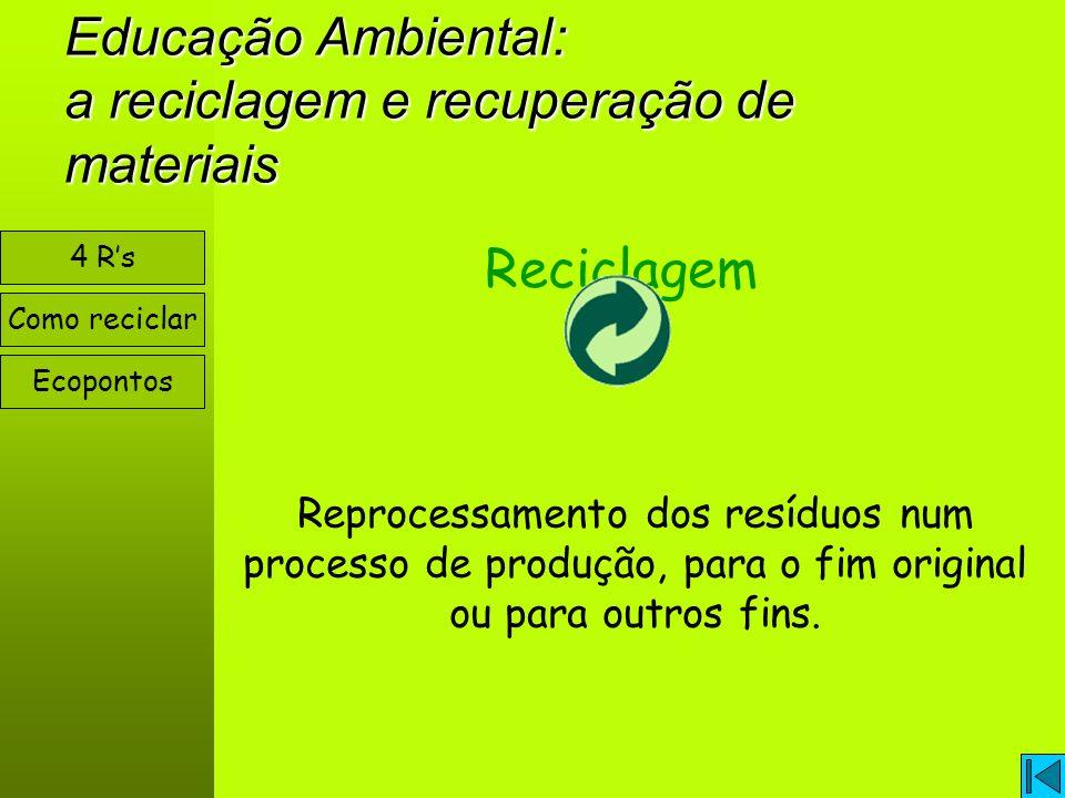 Educação Ambiental: a reciclagem e recuperação de materiais Como reciclar Ecopontos 4 Rs Reciclagem Reprocessamento dos resíduos num processo de produção, para o fim original ou para outros fins.