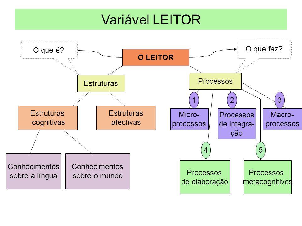 Variável LEITOR O LEITOR Estruturas Processos Estruturas cognitivas Estruturas afectivas Conhecimentos sobre a língua Conhecimentos sobre o mundo Micro- processos Processos de integra- ção Macro- processos Processos de elaboração Processos metacognitivos O que é.