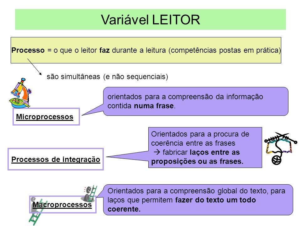 Variável LEITOR Processo = o que o leitor faz durante a leitura (competências postas em prática) são simultâneas (e não sequenciais) Microprocessos Processos de integração Macroprocessos orientados para a compreensão da informação contida numa frase.