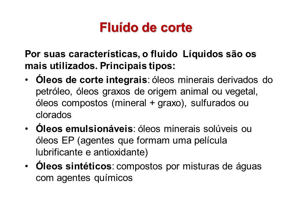 Fluído de corte Por suas características, o fluido Líquidos são os mais utilizados. Principais tipos: Óleos de corte integrais: óleos minerais derivad