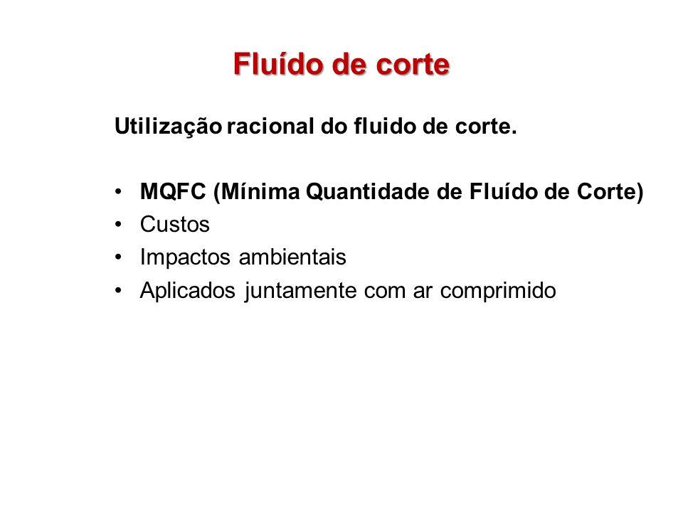 Fluído de corte Utilização racional do fluido de corte. MQFC (Mínima Quantidade de Fluído de Corte) Custos Impactos ambientais Aplicados juntamente co