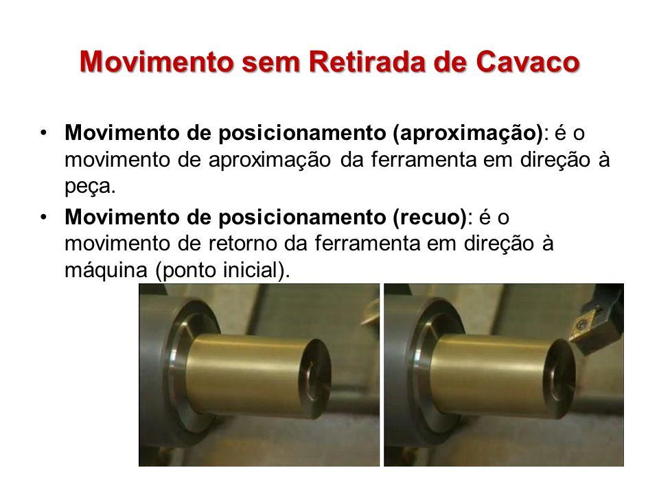Movimento sem Retirada de Cavaco Movimento de posicionamento (aproximação): é o movimento de aproximação da ferramenta em direção à peça. Movimento de