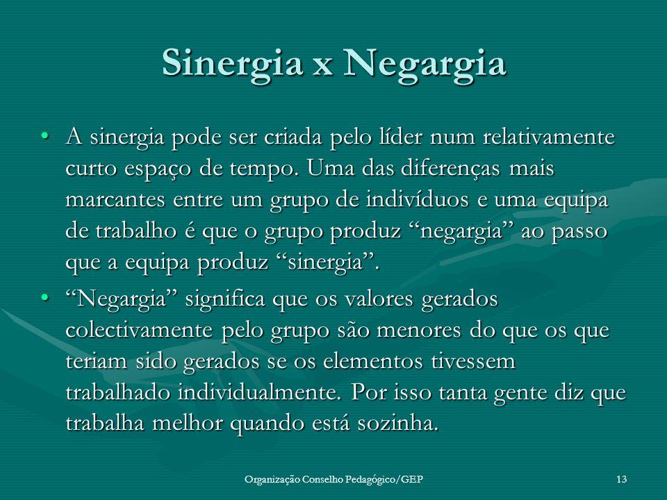 Organização Conselho Pedagógico/GEP13 Sinergia x Negargia A sinergia pode ser criada pelo líder num relativamente curto espaço de tempo.