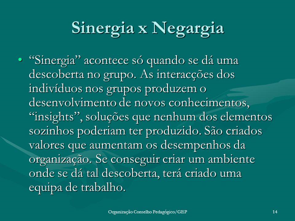 Organização Conselho Pedagógico/GEP14 Sinergia x Negargia Sinergia acontece só quando se dá uma descoberta no grupo.