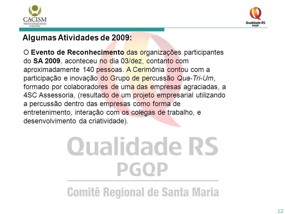 12 Algumas Atividades de 2009: O Evento de Reconhecimento das organizações participantes do SA 2009, aconteceu no dia 03/dez, contanto com aproximadam