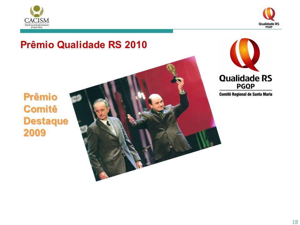 18 Prêmio Qualidade RS 2010 Prêmio Comitê Destaque 2009
