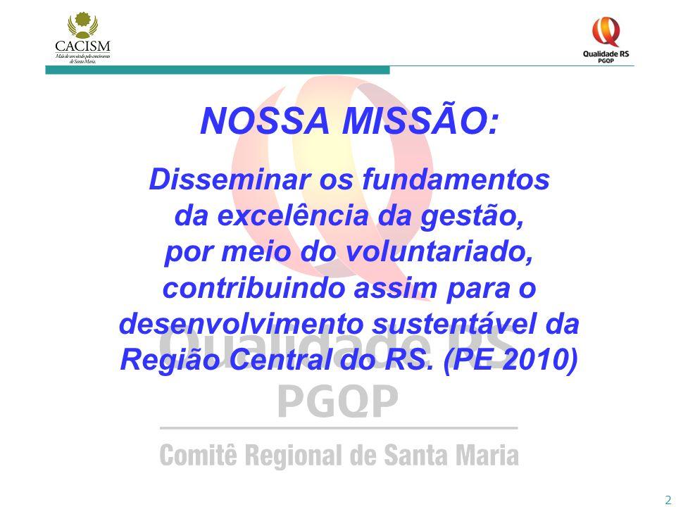 2 NOSSA MISSÃO: Disseminar os fundamentos da excelência da gestão, por meio do voluntariado, contribuindo assim para o desenvolvimento sustentável da