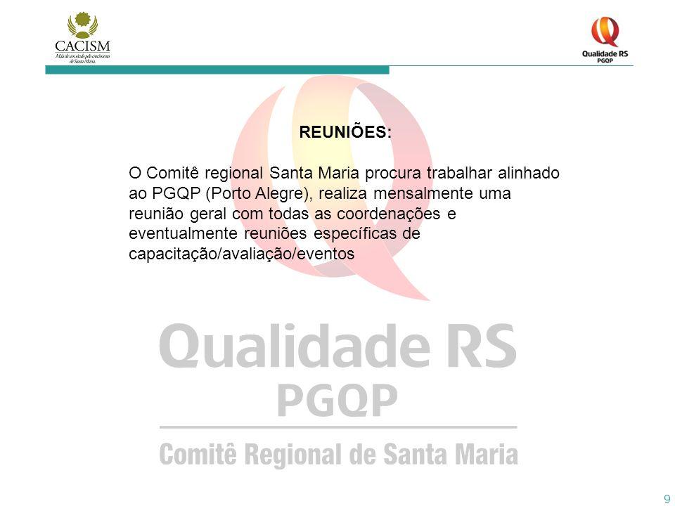 9 REUNIÕES: O Comitê regional Santa Maria procura trabalhar alinhado ao PGQP (Porto Alegre), realiza mensalmente uma reunião geral com todas as coorde