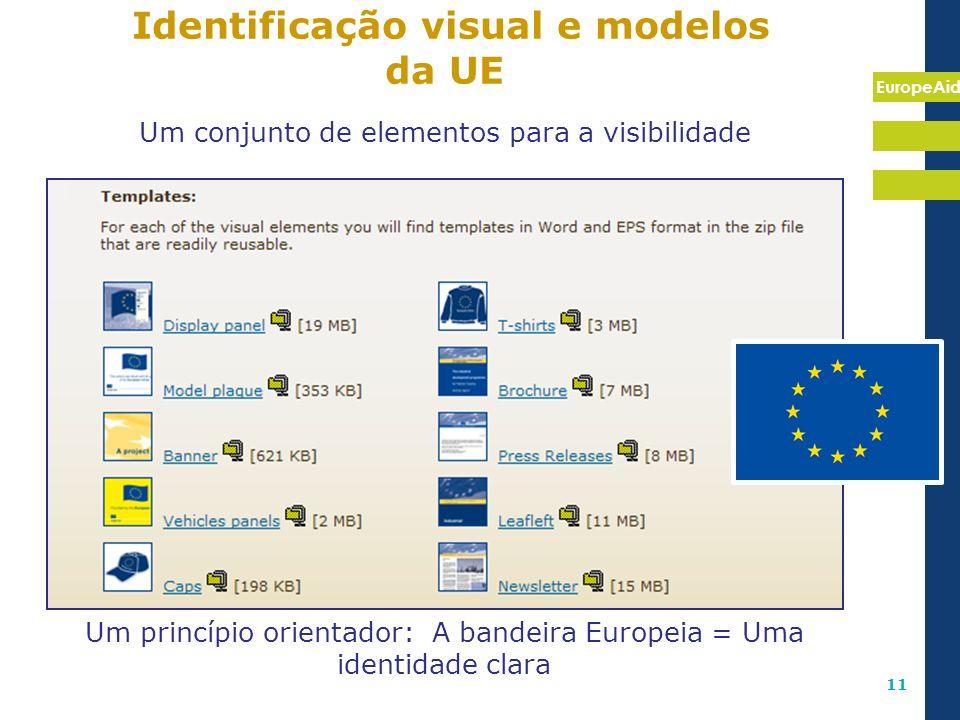 EuropeAid 11 Identificação visual e modelos da UE Um conjunto de elementos para a visibilidade Um princípio orientador: A bandeira Europeia = Uma iden
