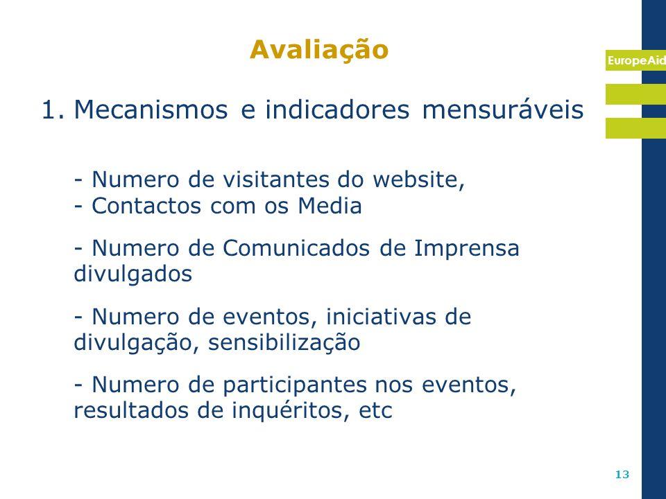 EuropeAid 13 Avaliação 1.Mecanismos e indicadores mensuráveis - Numero de visitantes do website, - Contactos com os Media - Numero de Comunicados de I