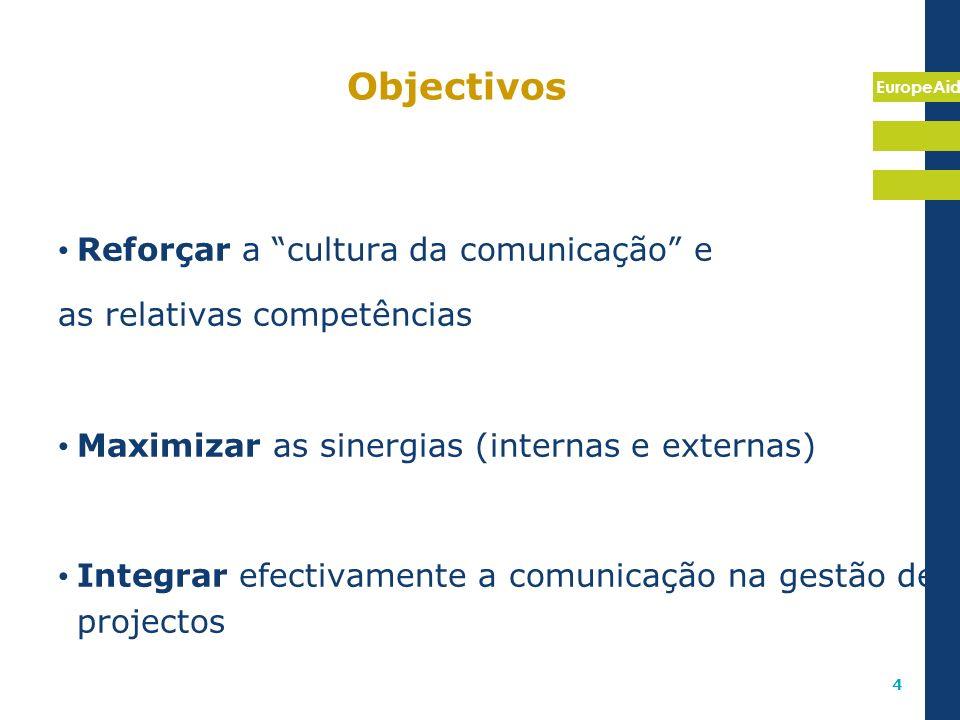 EuropeAid 4 Objectivos Reforçar a cultura da comunicação e as relativas competências Maximizar as sinergias (internas e externas) Integrar efectivamen