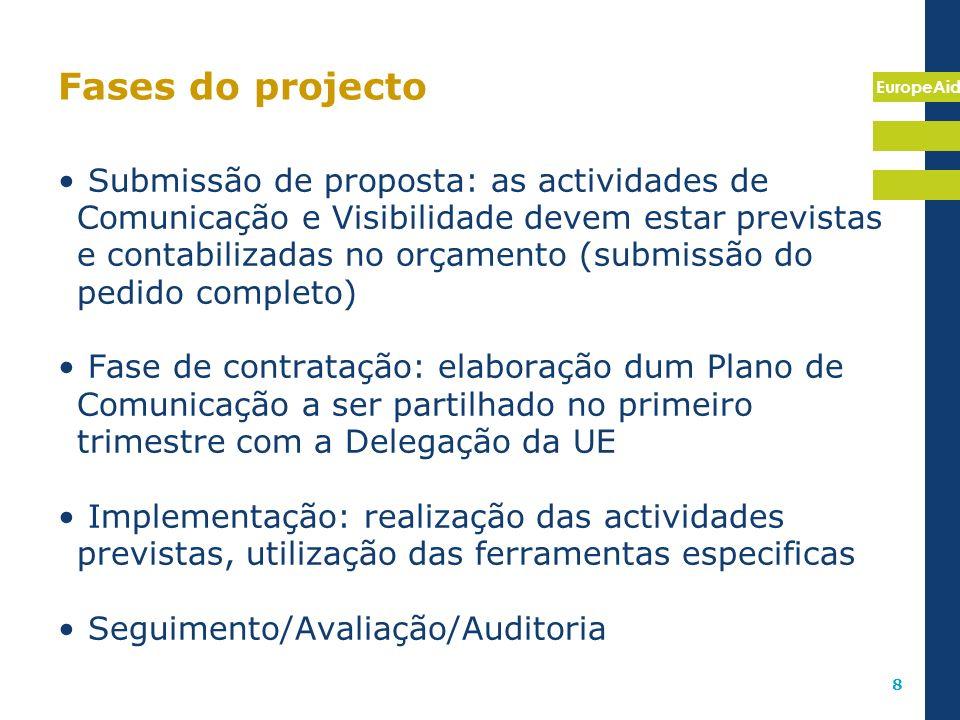 EuropeAid 8 Fases do projecto Submissão de proposta: as actividades de Comunicação e Visibilidade devem estar previstas e contabilizadas no orçamento