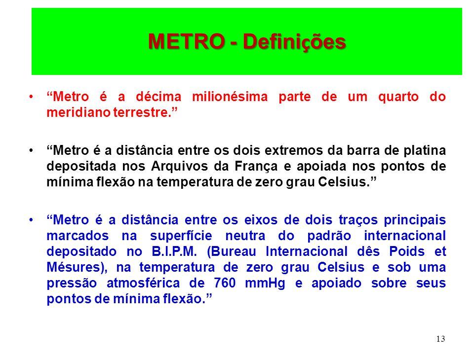 13 METRO - Defini ç ões Metro é a décima milionésima parte de um quarto do meridiano terrestre. Metro é a distância entre os dois extremos da barra de