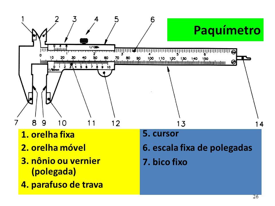26 1. orelha fixa 2. orelha móvel 3. nônio ou vernier (polegada) 4. parafuso de trava 5. cursor 6. escala fixa de polegadas 7. bico fixo Paquímetro