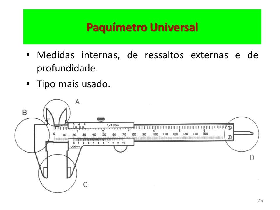 29 Paquímetro Universal Medidas internas, de ressaltos externas e de profundidade. Tipo mais usado.