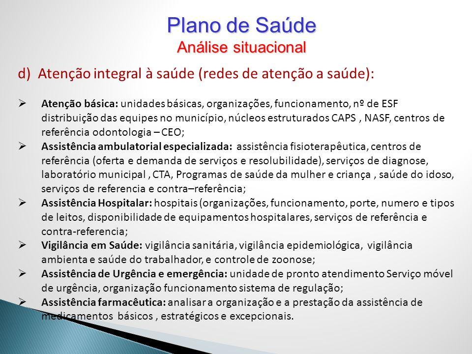 d) Atenção integral à saúde (redes de atenção a saúde): Atenção básica: unidades básicas, organizações, funcionamento, nº de ESF distribuição das equi