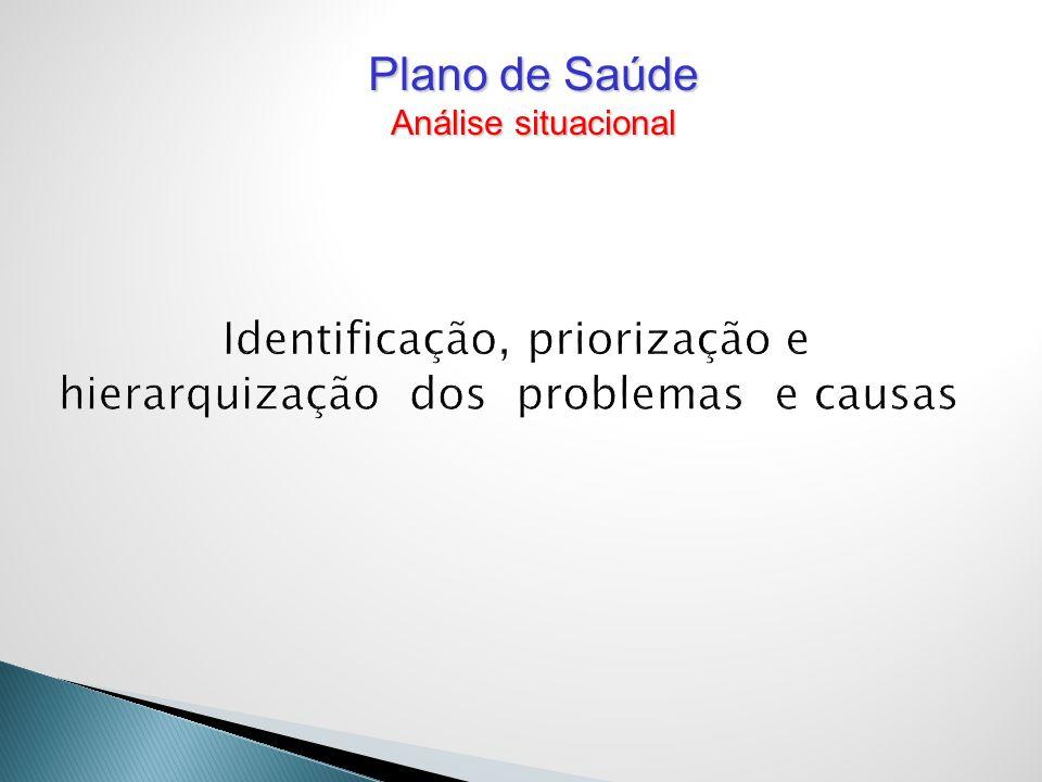 Identificação, priorização e hierarquização dos problemas e causas Plano de Saúde Análise situacional