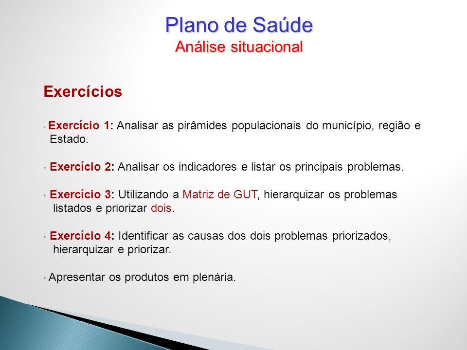 Exercícios Exercício 1: Analisar as pirâmides populacionais do município, região e Estado. Exercício 2: Analisar os indicadores e listar os principais