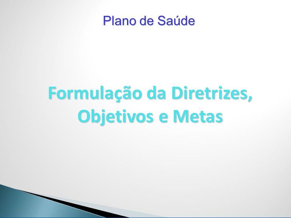 Plano de Saúde Formulação da Diretrizes, Objetivos e Metas