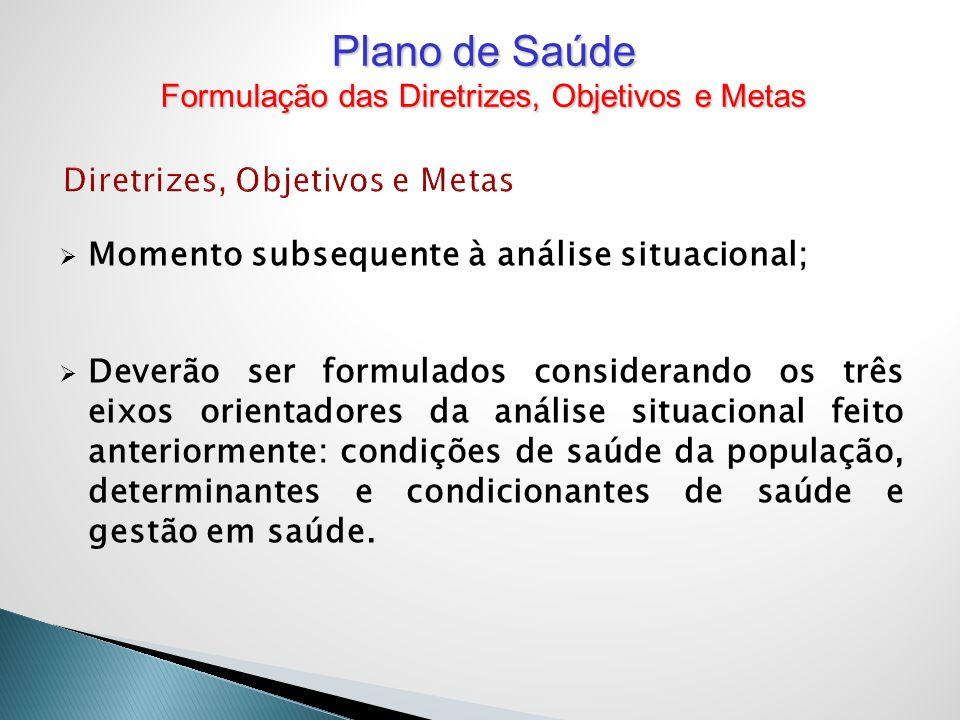 Diretrizes, Objetivos e Metas Momento subsequente à análise situacional; Deverão ser formulados considerando os três eixos orientadores da análise sit
