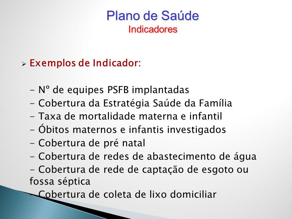 Exemplos de Indicador: - Nº de equipes PSFB implantadas - Cobertura da Estratégia Saúde da Família - Taxa de mortalidade materna e infantil - Óbitos m