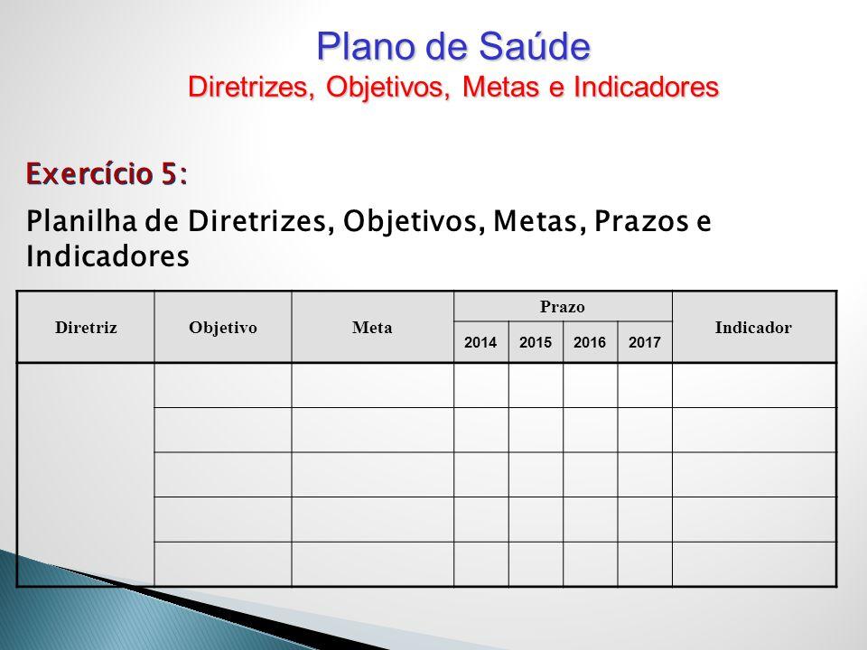 Planilha de Diretrizes, Objetivos, Metas, Prazos e Indicadores DiretrizObjetivoMeta Prazo Indicador 2014201520162017 Exercício 5: Plano de Saúde Diret