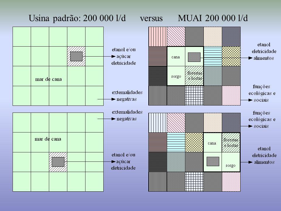 Usina padrão: 200 000 l/d versus MUAI 200 000 l/d