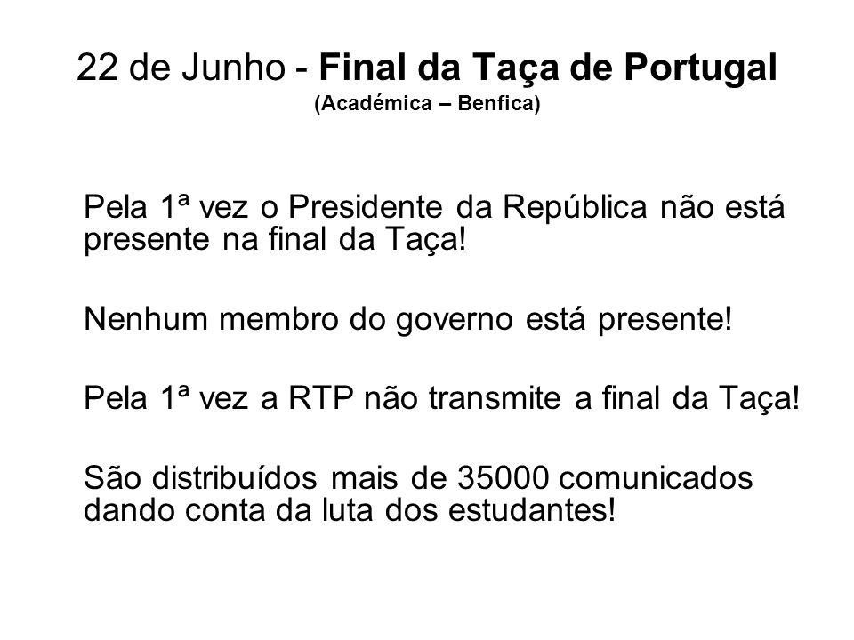 22 de Junho - Final da Taça de Portugal (Académica – Benfica) Pela 1ª vez o Presidente da República não está presente na final da Taça! Nenhum membro