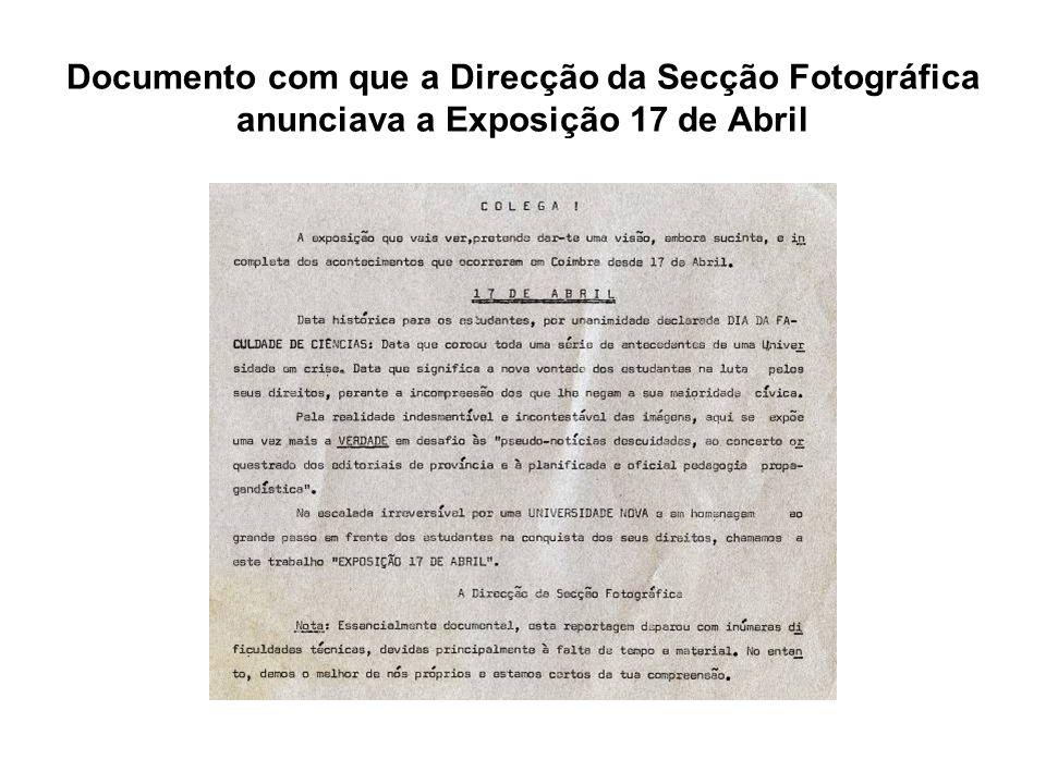 Documento com que a Direcção da Secção Fotográfica anunciava a Exposição 17 de Abril